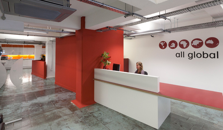 Showing the office fit-out at the All Global premises in the iconic Tea Building, Shoreditch