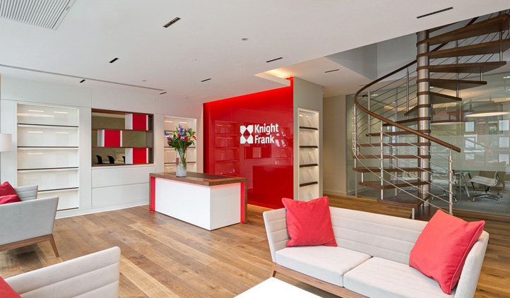 Showing an office fit-out at one of the Knight Frank premises, located in various offices throughout the UK
