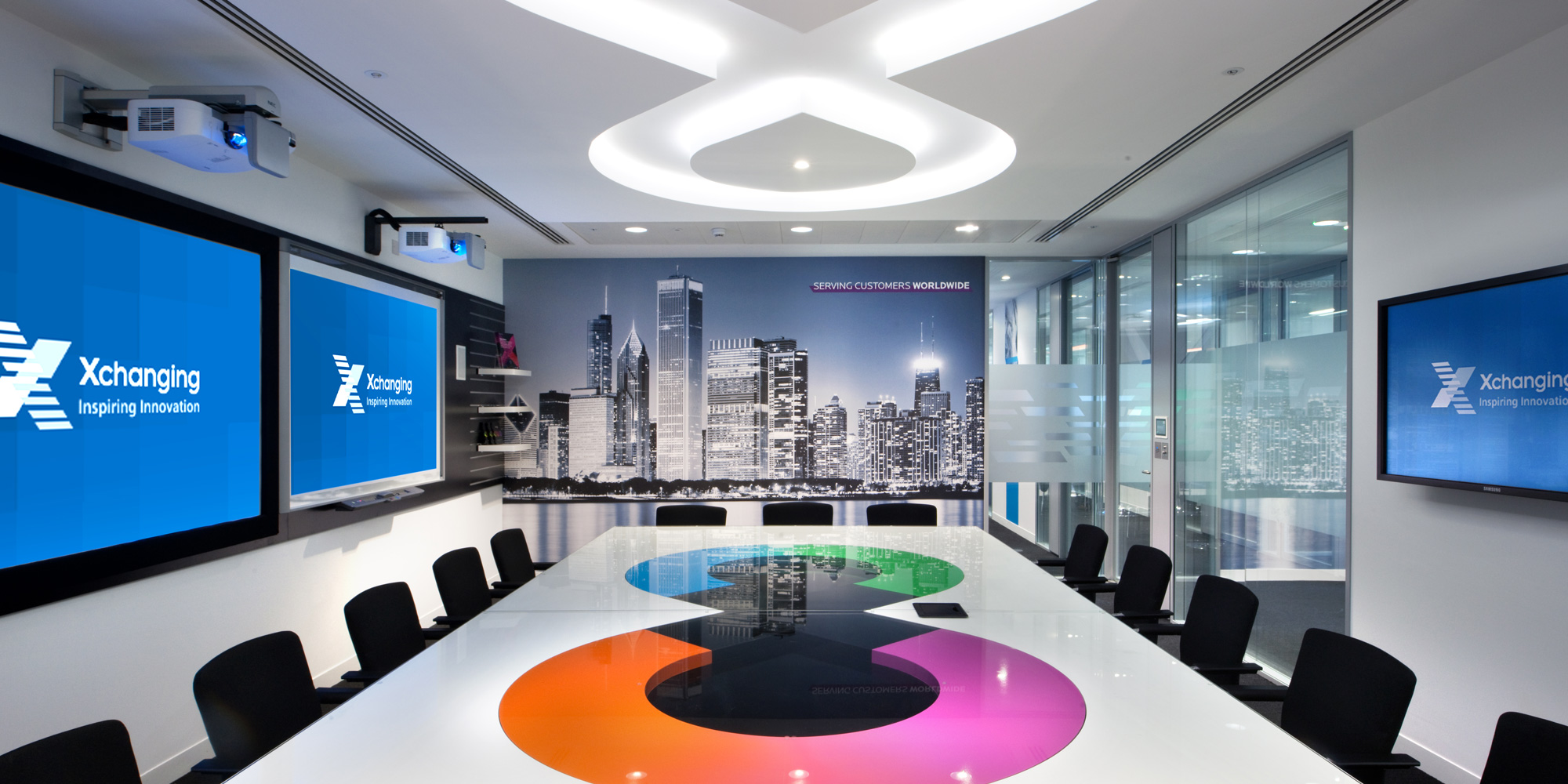 Showing the office fit-out at the XChanging premises in the Walbrook Building, London