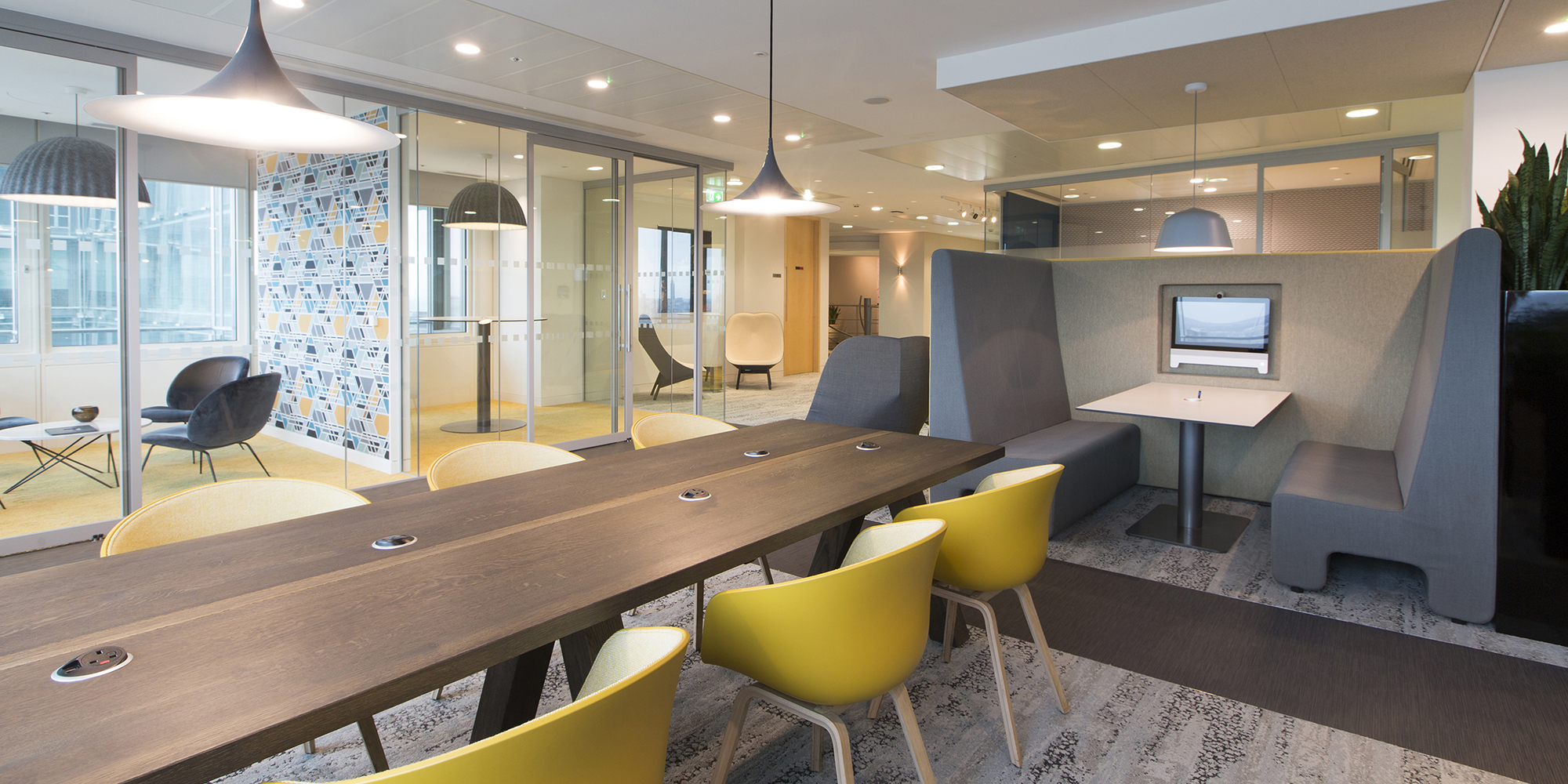 London headquarters interior architecture redesign - the refurbished coffee bar provides relaxed collaborative working areas