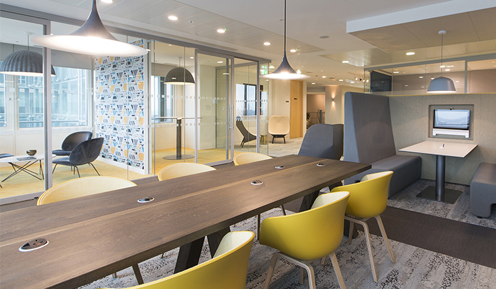 London headquarters interior architecture redesign - refurbished coffee bar providing informal meeting spaces