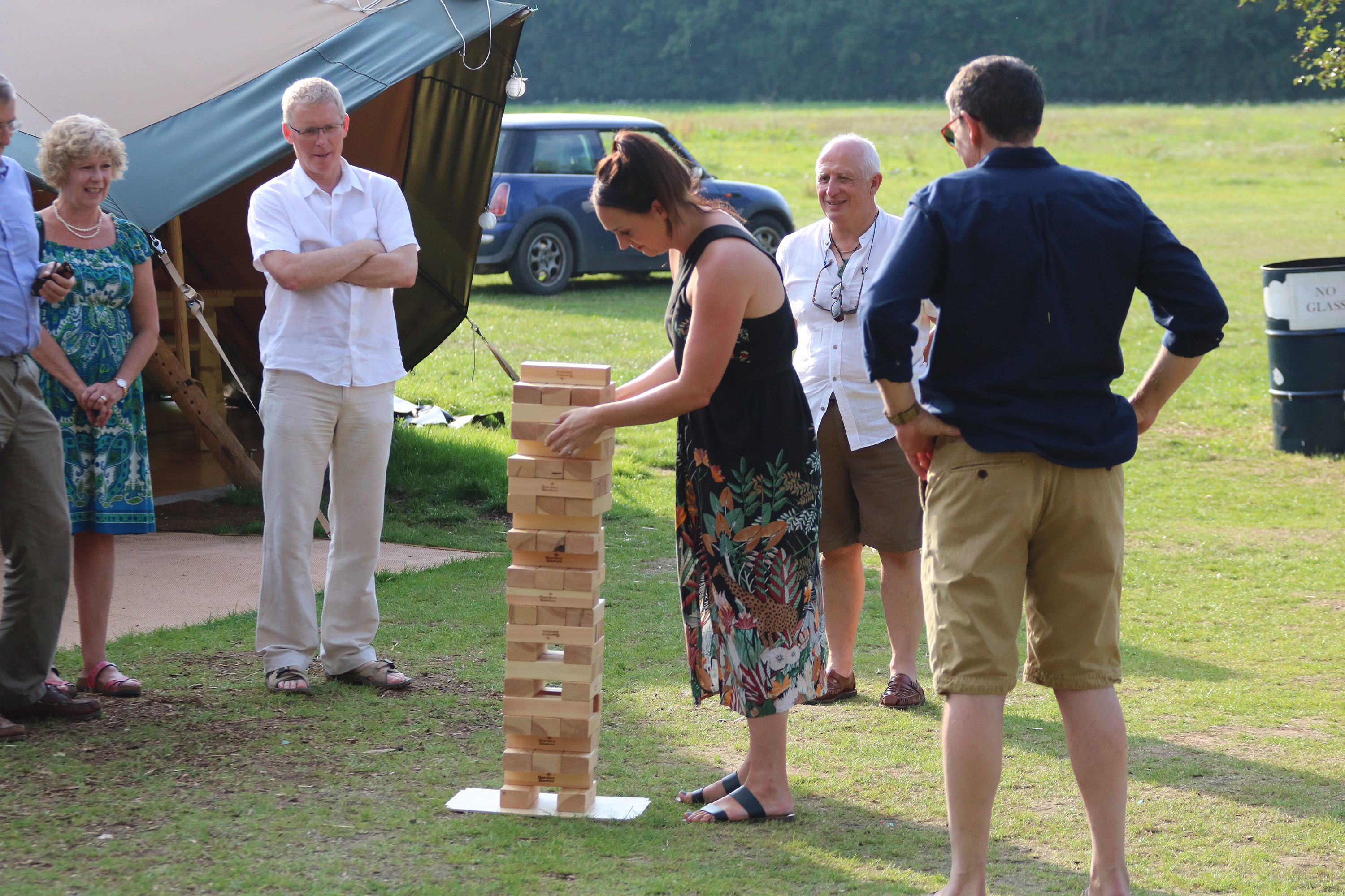 Mansfield Monk 25th anniversary celebrations - outside a teepee, people playing jenga