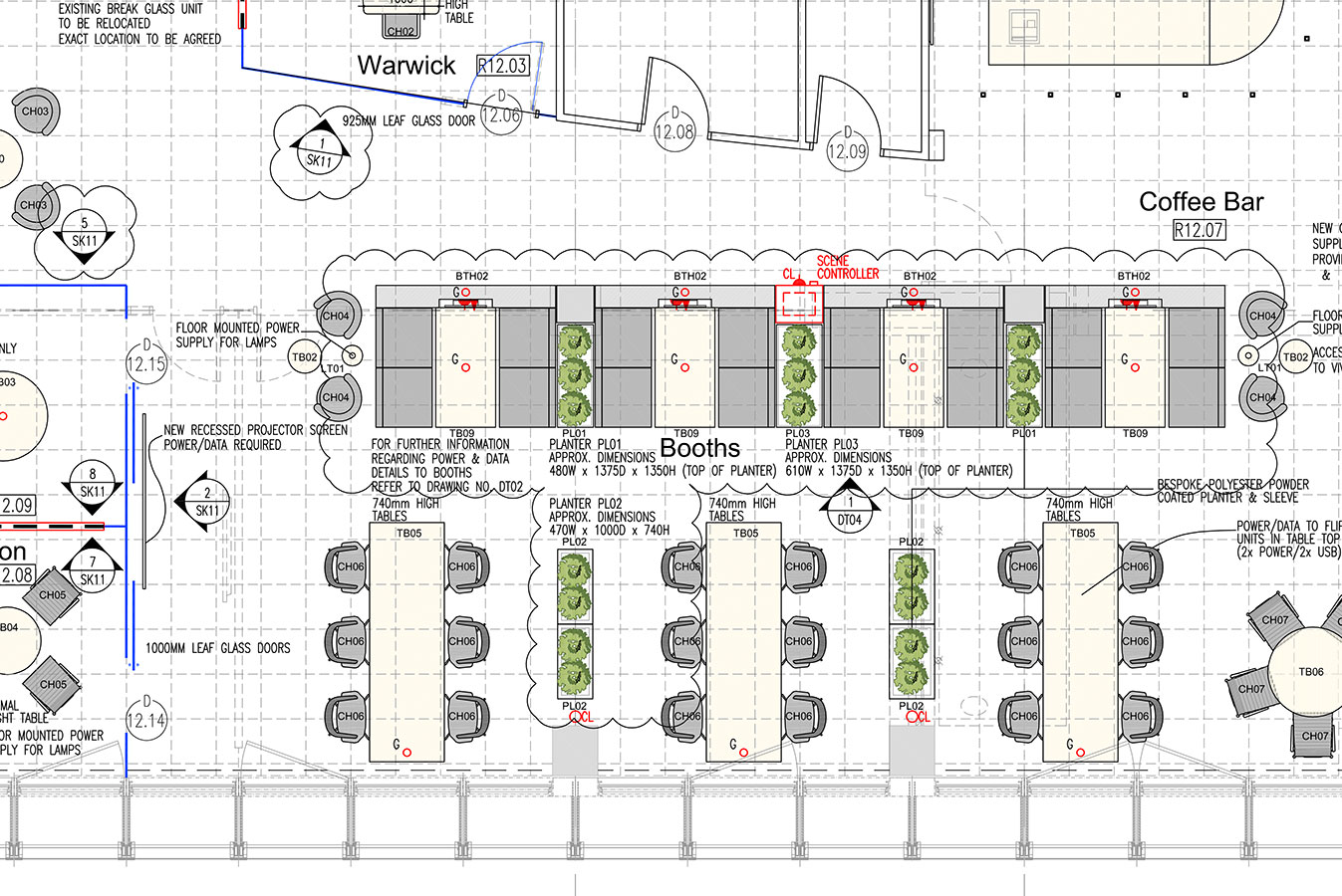 Blog - coffee bar CAD plan