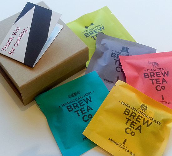 Goody bag tea bag selection from the Brew Tea Co.