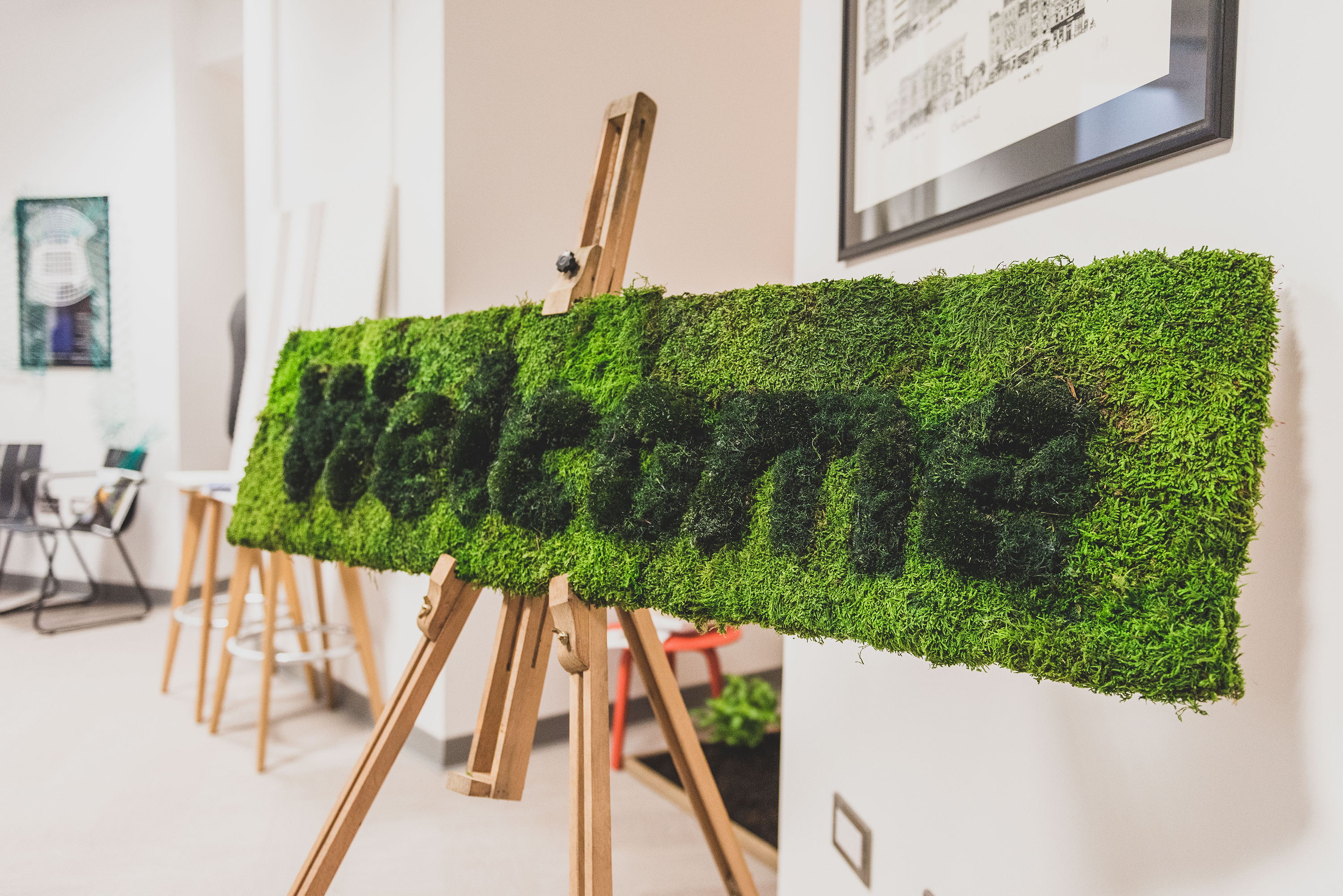 Welcome sign made from moss