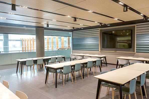 Acoustic wall and ceiling solutions were used to dampen noise